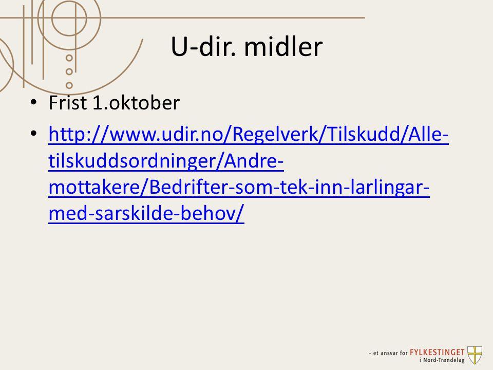 U-dir. midler Frist 1.oktober http://www.udir.no/Regelverk/Tilskudd/Alle- tilskuddsordninger/Andre- mottakere/Bedrifter-som-tek-inn-larlingar- med-sar