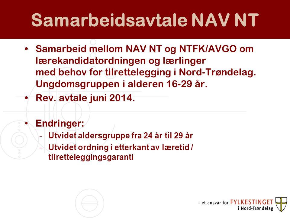 Samarbeidsavtale NAV NT Samarbeid mellom NAV NT og NTFK/AVGO om lærekandidatordningen og lærlinger med behov for tilrettelegging i Nord-Trøndelag. Ung