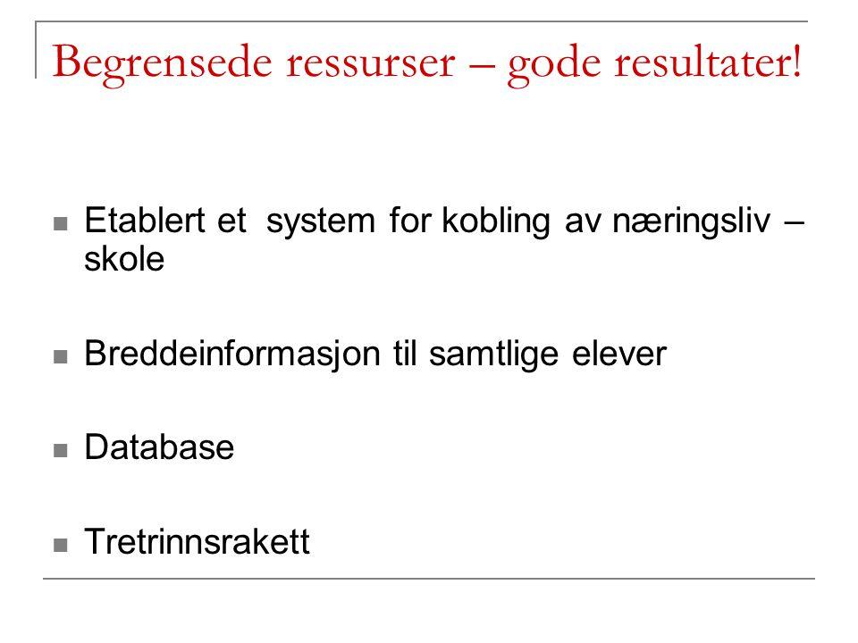 Begrensede ressurser – gode resultater! Etablert et system for kobling av næringsliv – skole Breddeinformasjon til samtlige elever Database Tretrinnsr