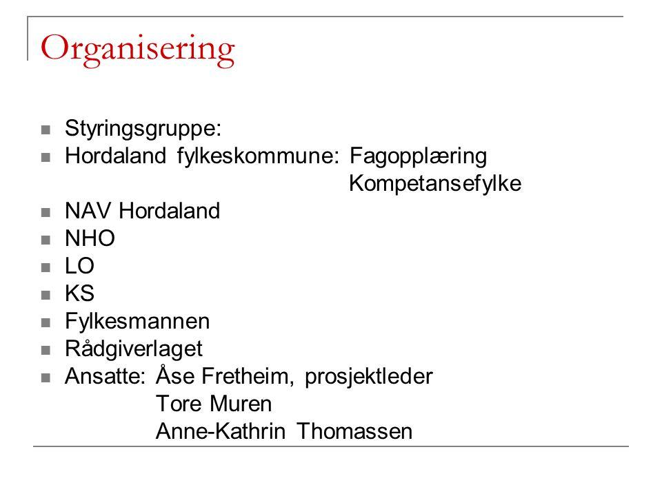 Organisering Styringsgruppe: Hordaland fylkeskommune: Fagopplæring Kompetansefylke NAV Hordaland NHO LO KS Fylkesmannen Rådgiverlaget Ansatte: Åse Fre