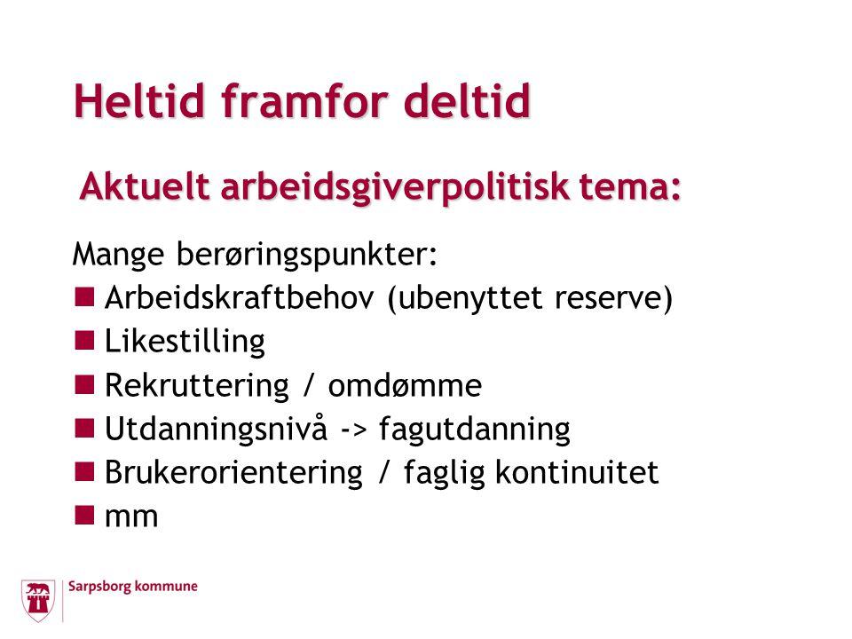 Sarpsborg kommune - sentrale spørsmål: Hva er UØNSKET deltid.