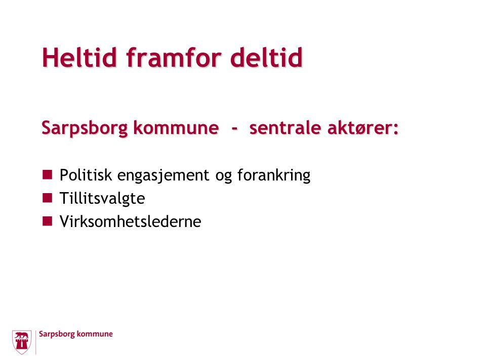 Sarpsborg kommune - sentrale aktører: Politisk engasjement og forankring Tillitsvalgte Virksomhetslederne Heltid framfor deltid