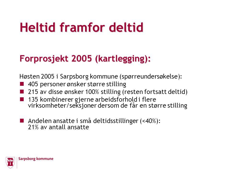 Forprosjekt 2005 (kartlegging): Høsten 2005 i Sarpsborg kommune (spørreundersøkelse): 405 personer ønsker større stilling 215 av disse ønsker 100% stilling (resten fortsatt deltid) 135 kombinerer gjerne arbeidsforhold i flere virksomheter/seksjoner dersom de får en større stilling Andelen ansatte i små deltidsstillinger (<40%): 21% av antall ansatte Heltid framfor deltid