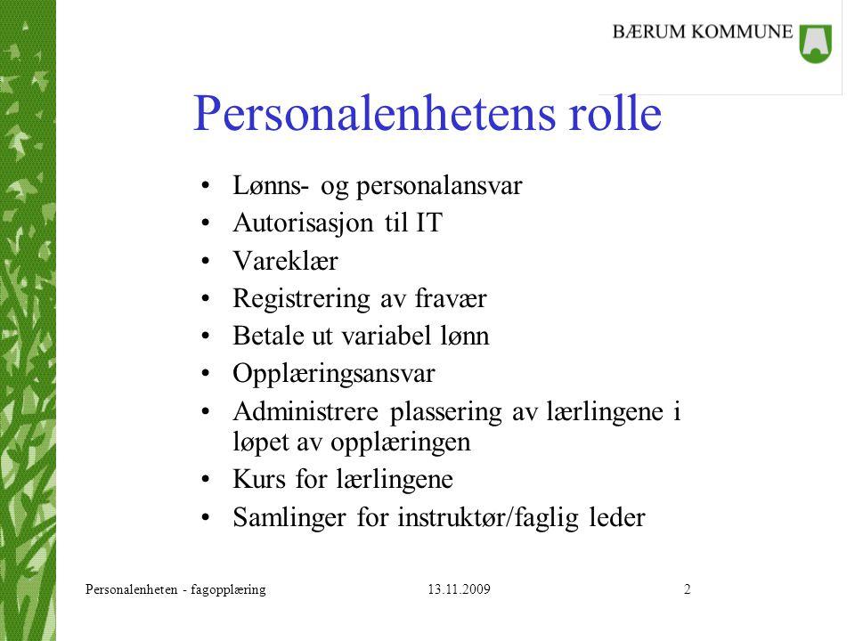 Personalenheten - fagopplæring 13.11.20092 Personalenhetens rolle Lønns- og personalansvar Autorisasjon til IT Vareklær Registrering av fravær Betale
