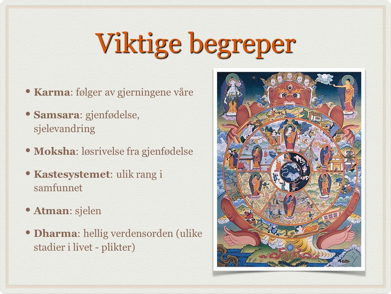 Viktige begreper Karma: følger av gjerningene våre Samsara: gjenfødelse, sjelevandring Moksha: løsrivelse fra gjenfødelse Kastesystemet: ulik rang i s