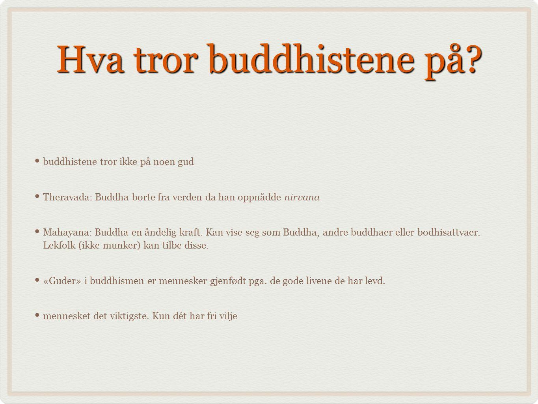 Hva tror buddhistene på? buddhistene tror ikke på noen gud Theravada: Buddha borte fra verden da han oppnådde nirvana Mahayana: Buddha en åndelig kraf