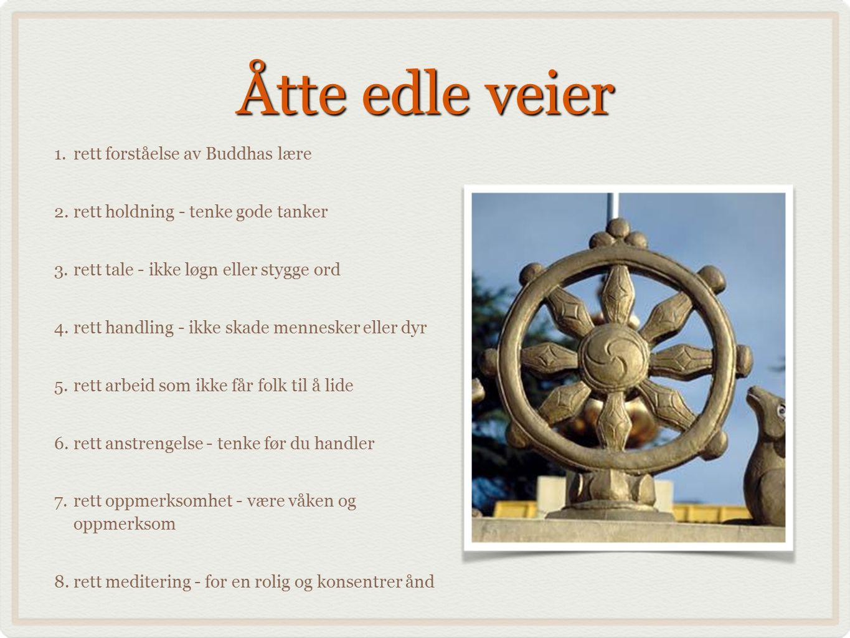 Åtte edle veier 1.rett forståelse av Buddhas lære 2.rett holdning - tenke gode tanker 3.rett tale - ikke løgn eller stygge ord 4.rett handling - ikke