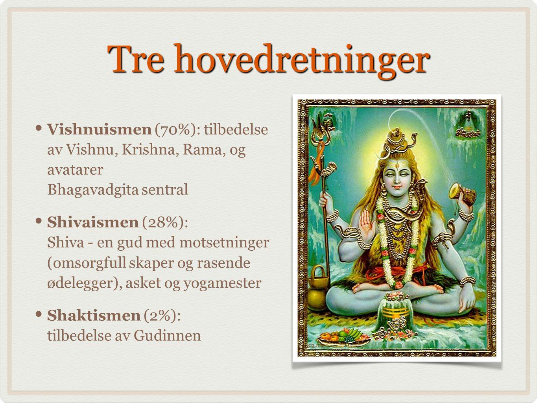 Tre hovedretninger Vishnuismen (70%): tilbedelse av Vishnu, Krishna, Rama, og avatarer Bhagavadgita sentral Shivaismen (28%): Shiva - en gud med motsetninger (omsorgfull skaper og rasende ødelegger), asket og yogamester Shaktismen (2%): tilbedelse av Gudinnen