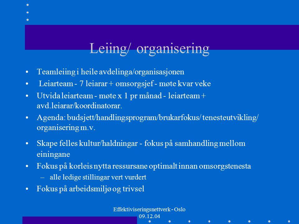 Effektiviseringsnettverk - Oslo 09.12.04 Brukarmedverknad - tiltak….