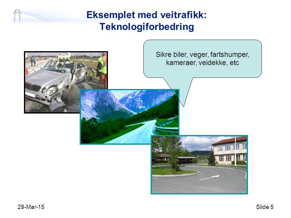 29-Mar-15Slide 5 Eksemplet med veitrafikk: Teknologiforbedring Sikre biler, veger, fartshumper, kameraer, veidekke, etc