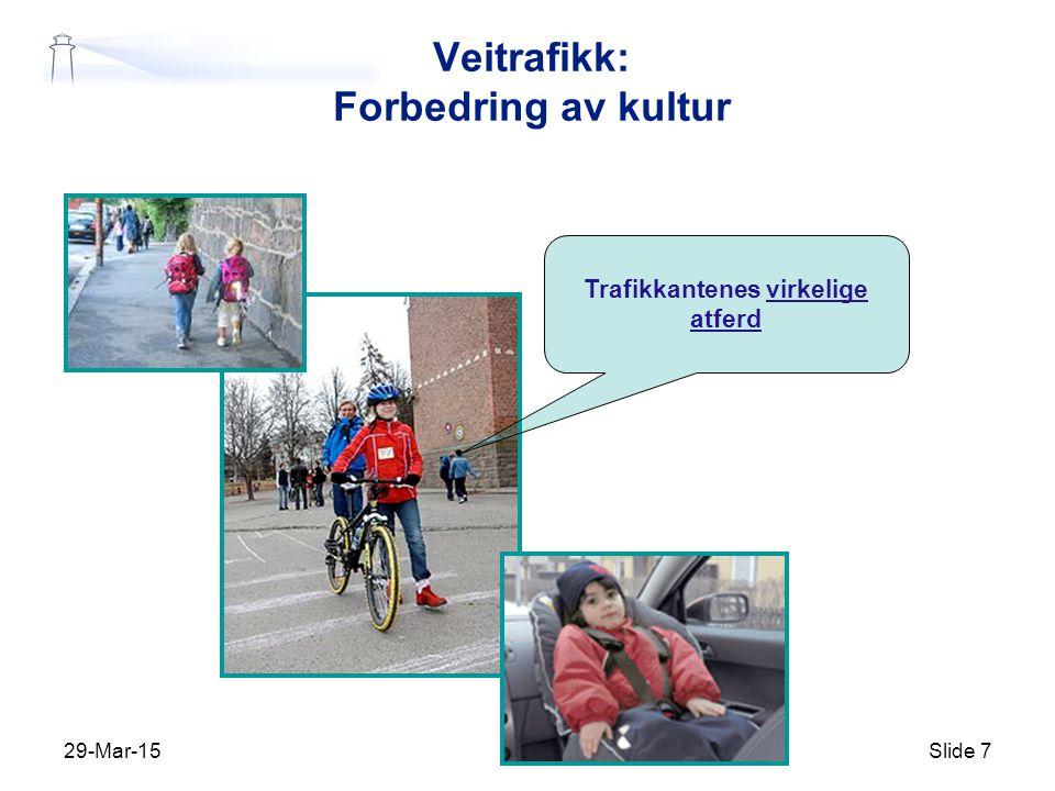 29-Mar-15Slide 8 Prestasjonsnivå Tid Tre ulike forbedringsprosesser Teknologi Systemer Trafikkultur