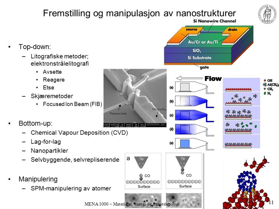 Fremstilling og manipulasjon av nanostrukturer Top-down: –Litografiske metoder; elektronstrålelitografi Avsette Reagere Etse –Skjæremetoder Focused Io