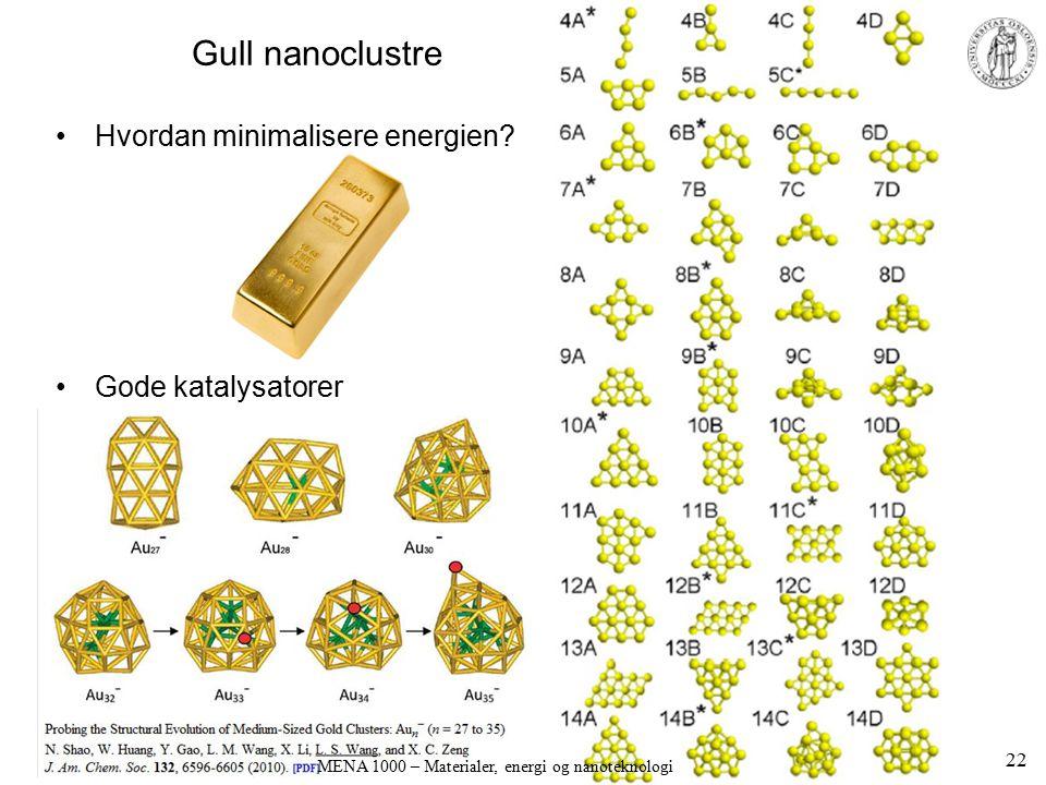 Gull nanoclustre Hvordan minimalisere energien? Gode katalysatorer 22 MENA 1000 – Materialer, energi og nanoteknologi