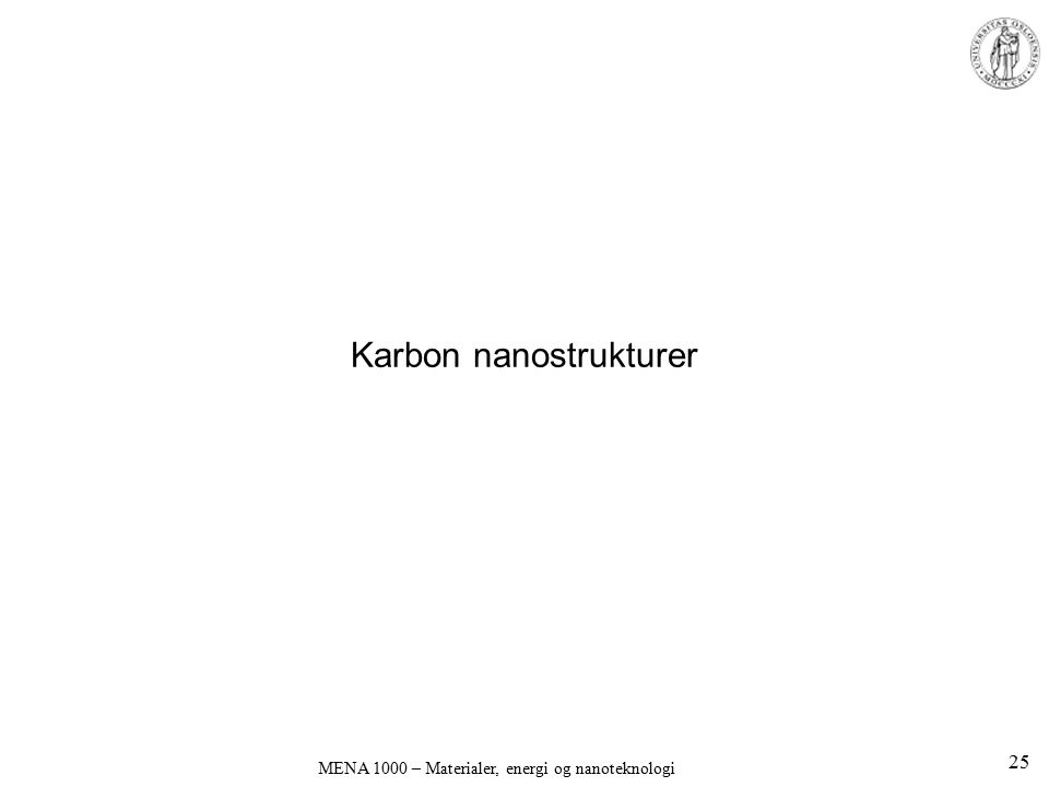 Karbon nanostrukturer MENA 1000 – Materialer, energi og nanoteknologi 25