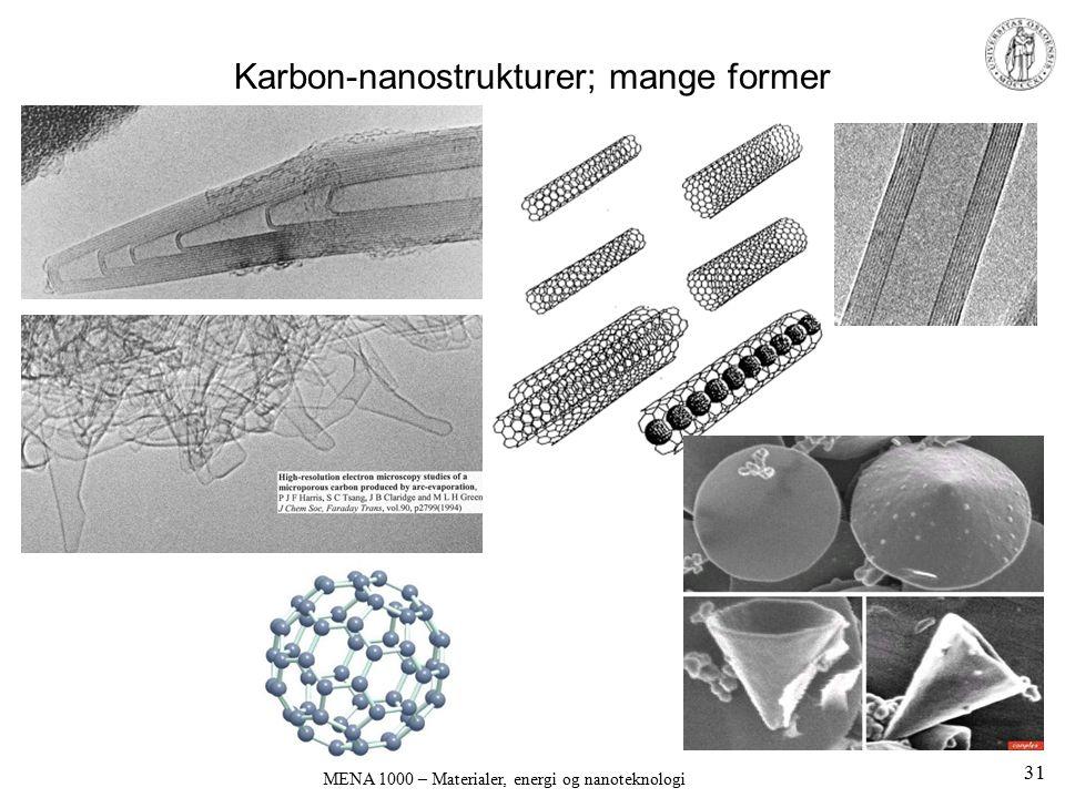 MENA 1000 – Materialer, energi og nanoteknologi Karbon-nanostrukturer; mange former 31