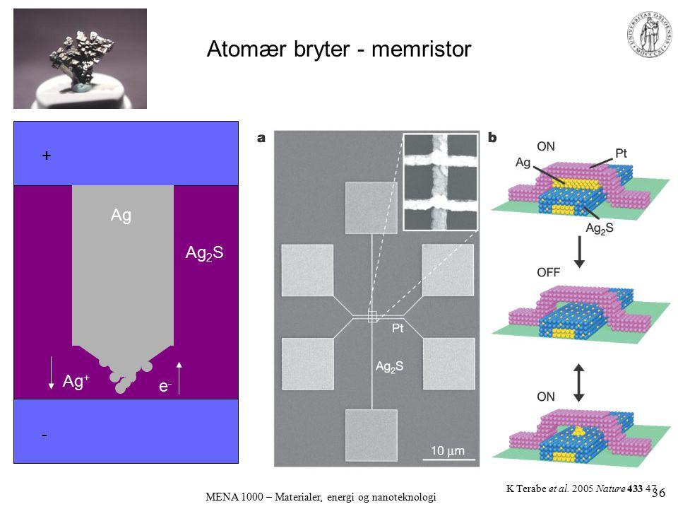 Atomær bryter - memristor MENA 1000 – Materialer, energi og nanoteknologi K Terabe et al. 2005 Nature 433 47 + - Ag Ag 2 S Ag + e-e- 36