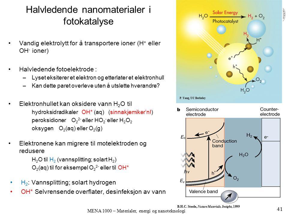 Vandig elektrolytt for å transportere ioner (H + eller OH - ioner) Halvledende fotoelektrode : –Lyset eksiterer et elektron og etterlater et elektronh