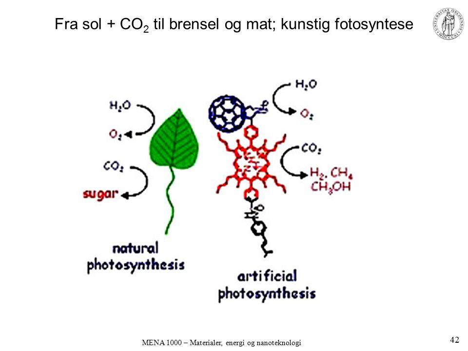 Fra sol + CO 2 til brensel og mat; kunstig fotosyntese 42 MENA 1000 – Materialer, energi og nanoteknologi