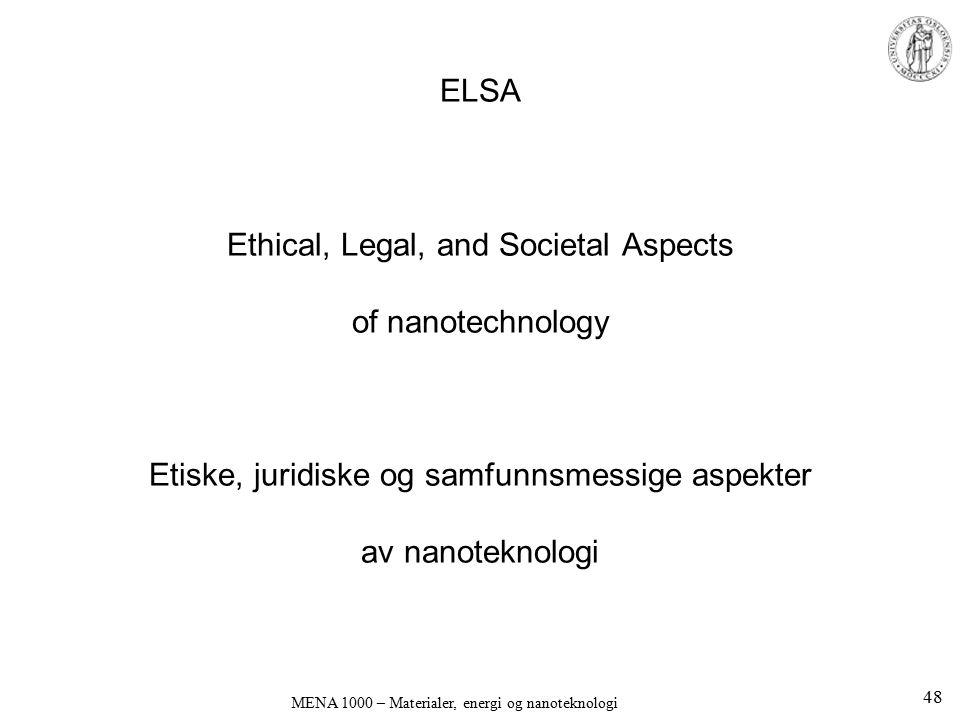 ELSA Ethical, Legal, and Societal Aspects of nanotechnology Etiske, juridiske og samfunnsmessige aspekter av nanoteknologi MENA 1000 – Materialer, ene