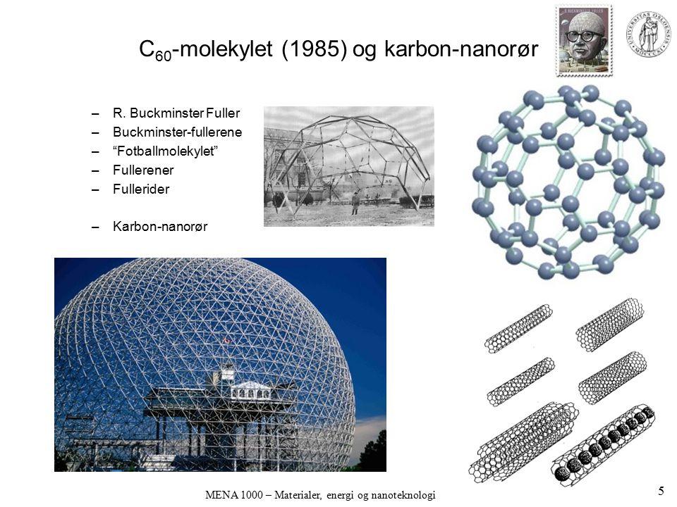 MENA 1000 – Materialer, energi og nanoteknologi Grafen (graphene) Grafen (graphene) er enkelt- ark av grafitt (C) Oppdaget av Brodie, 1859 Rene enkelt-ark karakterisert først i 2004 (Geim et al.) Ikke stabile i seg selv Stabiliseres av –terminerende O og/eller H –Bølgestrukturer Novoselov & Geim 26