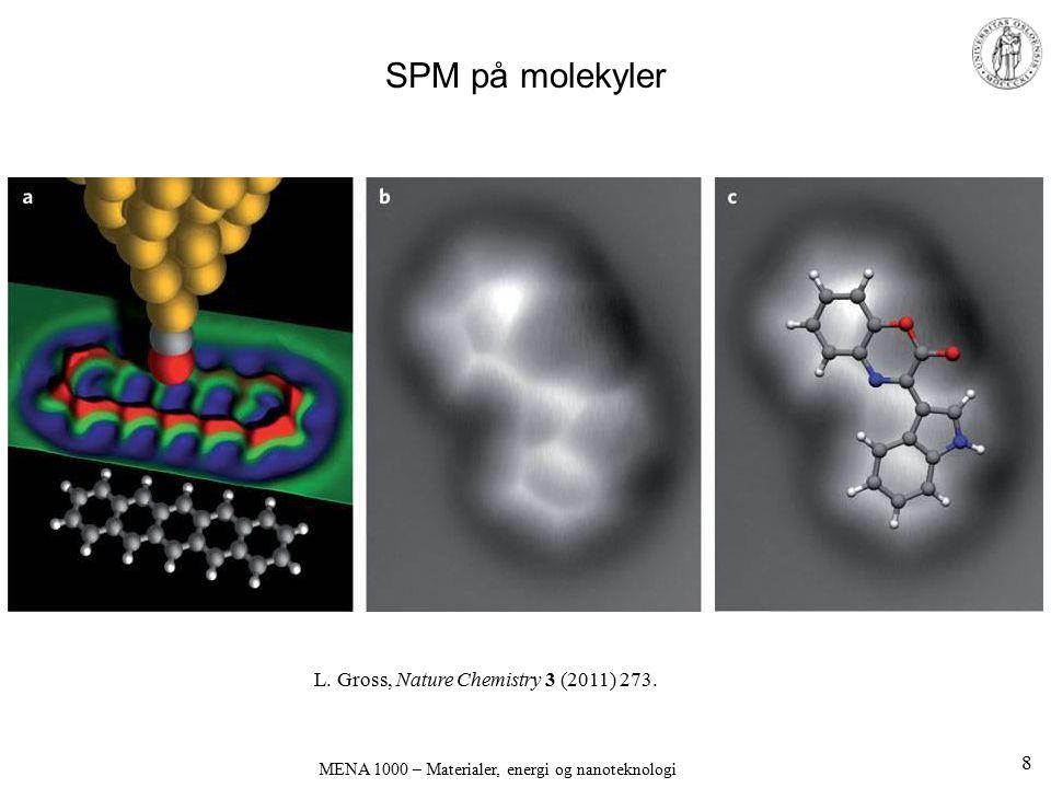 SPM på molekyler MENA 1000 – Materialer, energi og nanoteknologi 8 L. Gross, Nature Chemistry 3 (2011) 273.
