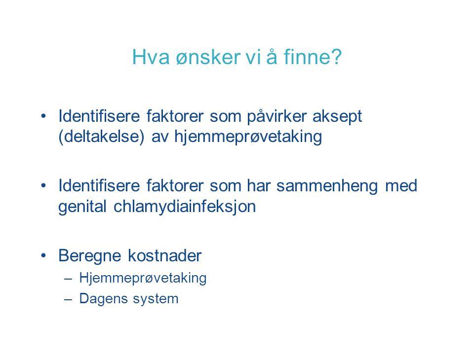 Hva ønsker vi å finne? Identifisere faktorer som påvirker aksept (deltakelse) av hjemmeprøvetaking Identifisere faktorer som har sammenheng med genita
