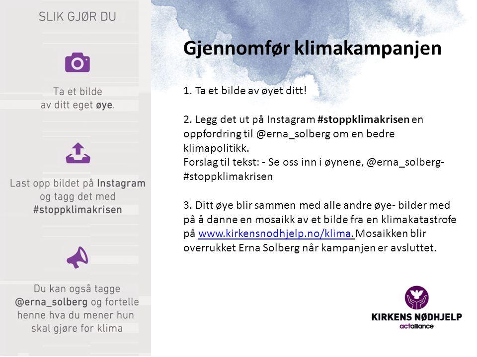 1. Ta et bilde av øyet ditt! 2. Legg det ut på Instagram #stoppklimakrisen en oppfordring til @erna_solberg om en bedre klimapolitikk. Forslag til tek