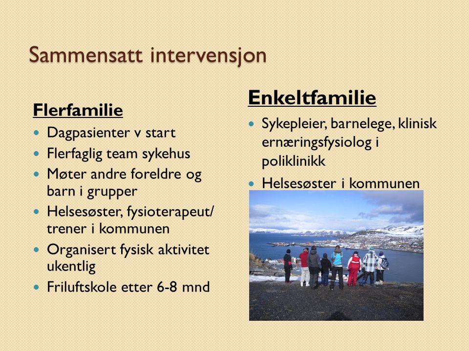 Sammensatt intervensjon Flerfamilie Dagpasienter v start Flerfaglig team sykehus Møter andre foreldre og barn i grupper Helsesøster, fysioterapeut/ tr