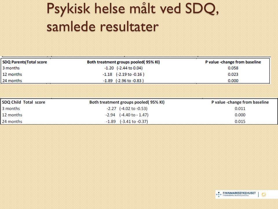 Psykisk helse målt ved SDQ, samlede resultater
