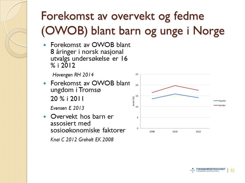 Forekomst av overvekt og fedme blant 6-åringer i Finnmark Forekomst av OWOB blant 6-åringer i Finnmark i 2007 var 19 %, som var noe høyere enn undersøkelser i andre deler av landet i samme periode, ved bruk av samme kriterier.
