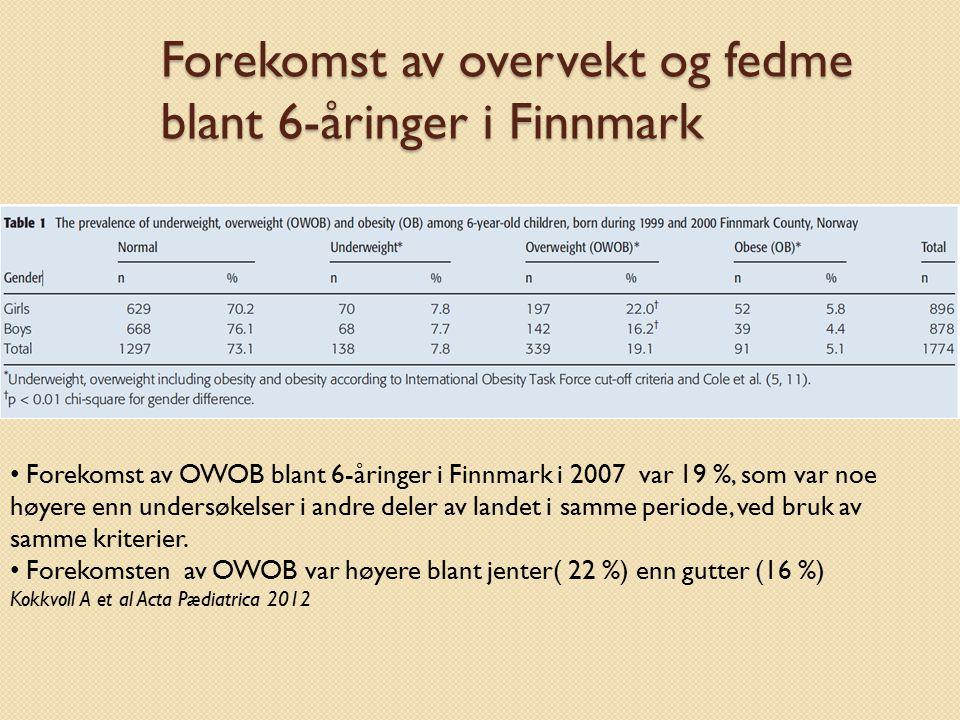 Forekomst av overvekt og fedme blant 6-åringer i Finnmark Forekomst av OWOB blant 6-åringer i Finnmark i 2007 var 19 %, som var noe høyere enn undersø