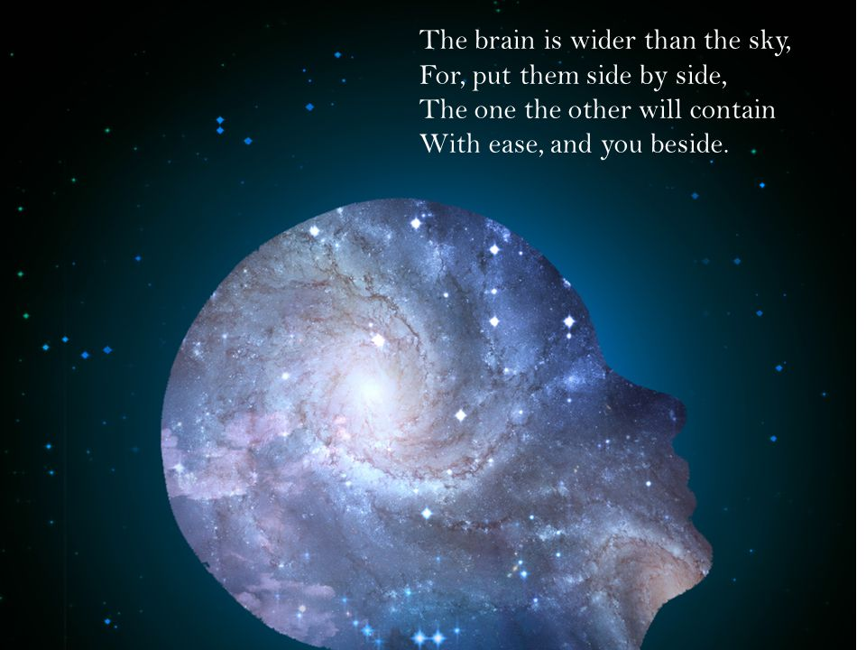 The brain is wider than the sky, For, put them side by side, The one the other will contain With ease, and you beside.