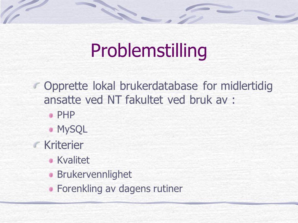 Problemstilling Opprette lokal brukerdatabase for midlertidig ansatte ved NT fakultet ved bruk av : PHP MySQL Kriterier Kvalitet Brukervennlighet Forenkling av dagens rutiner