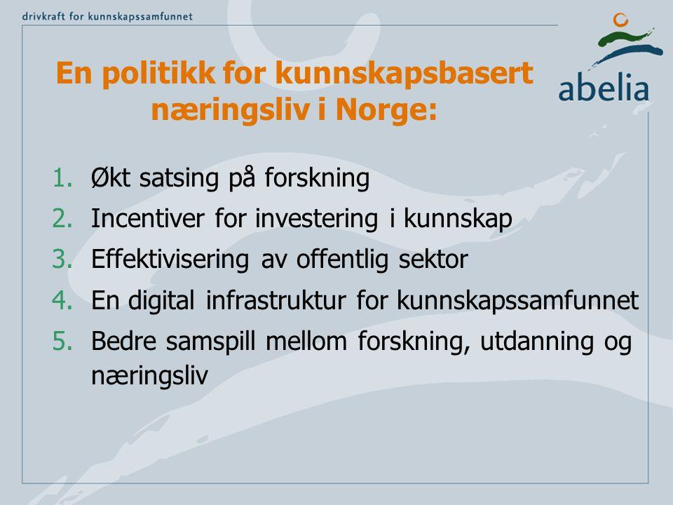 En politikk for kunnskapsbasert næringsliv i Norge: 1.Økt satsing på forskning 2.Incentiver for investering i kunnskap 3.Effektivisering av offentlig sektor 4.En digital infrastruktur for kunnskapssamfunnet 5.Bedre samspill mellom forskning, utdanning og næringsliv