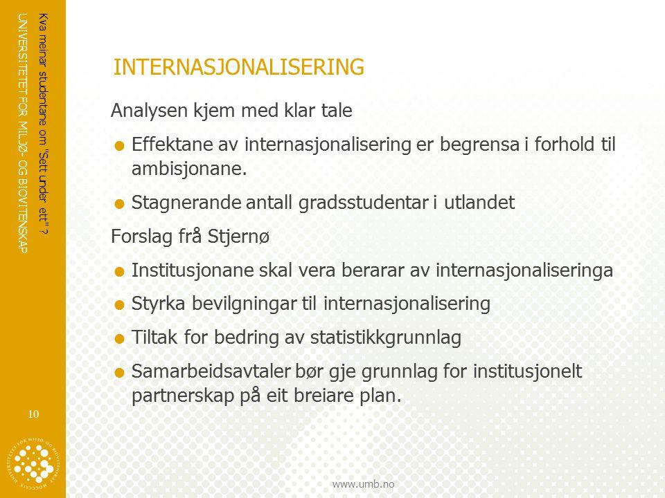 UNIVERSITETET FOR MILJØ- OG BIOVITENSKAP www.umb.no Kva meinar studentane om Sett under ett .