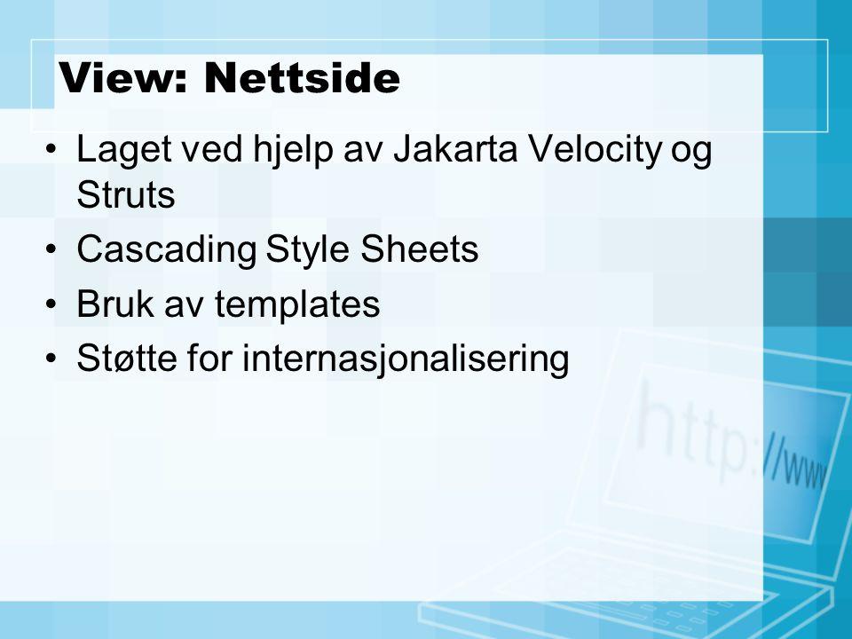 View: Nettside Laget ved hjelp av Jakarta Velocity og Struts Cascading Style Sheets Bruk av templates Støtte for internasjonalisering