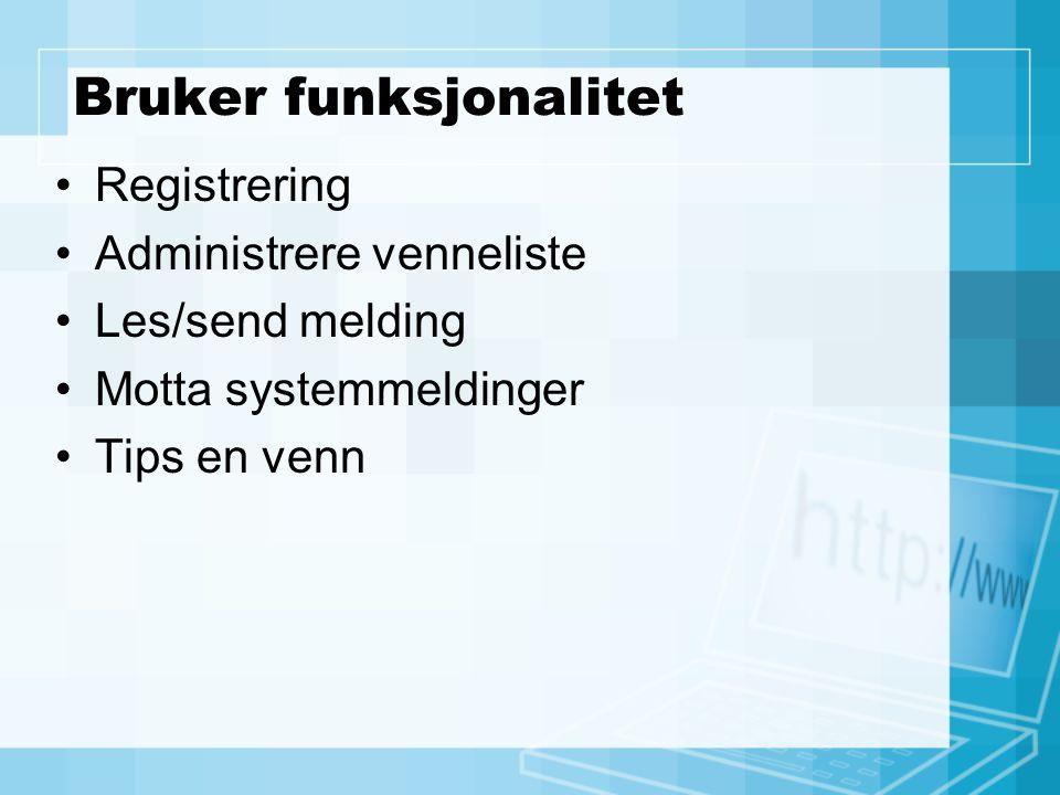 Bruker funksjonalitet Registrering Administrere venneliste Les/send melding Motta systemmeldinger Tips en venn