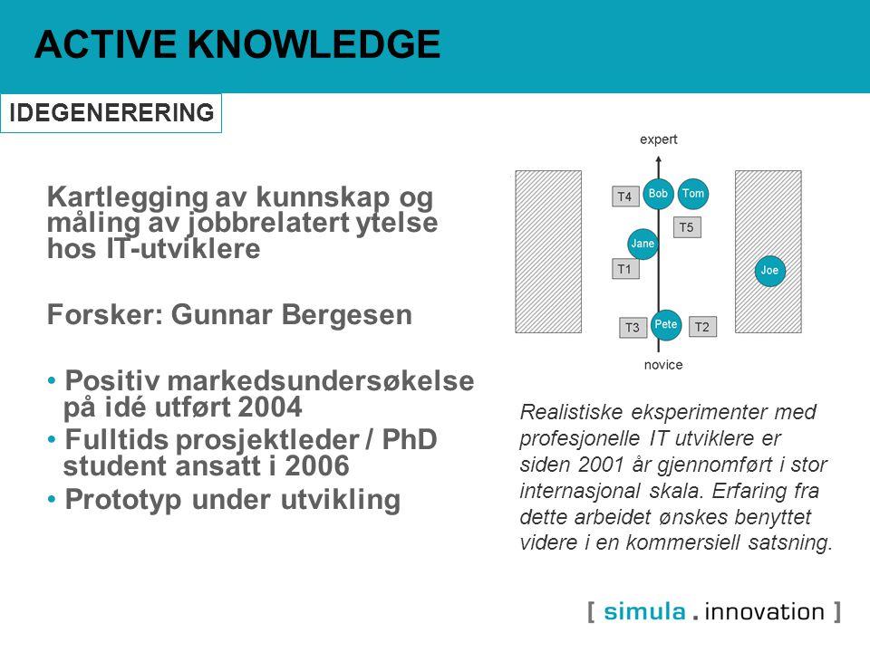 Kartlegging av kunnskap og måling av jobbrelatert ytelse hos IT-utviklere Forsker: Gunnar Bergesen Positiv markedsundersøkelse på idé utført 2004 Full