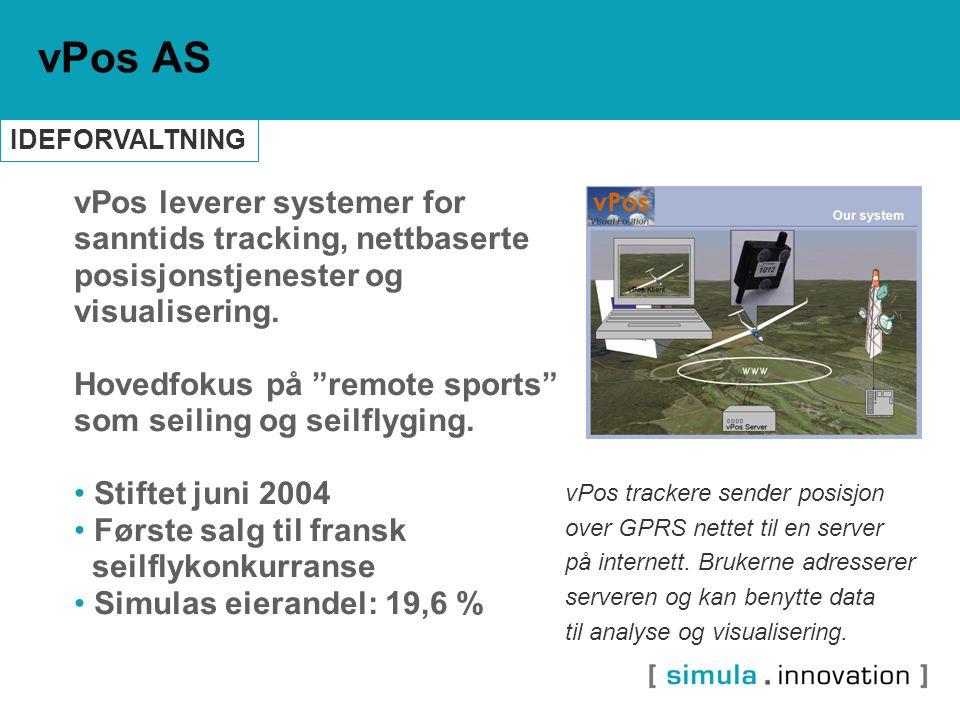 """vPos leverer systemer for sanntids tracking, nettbaserte posisjonstjenester og visualisering. Hovedfokus på """"remote sports"""" som seiling og seilflyging"""