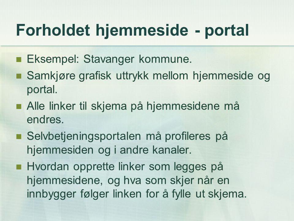 Forholdet hjemmeside - portal Eksempel: Stavanger kommune. Samkjøre grafisk uttrykk mellom hjemmeside og portal. Alle linker til skjema på hjemmesiden