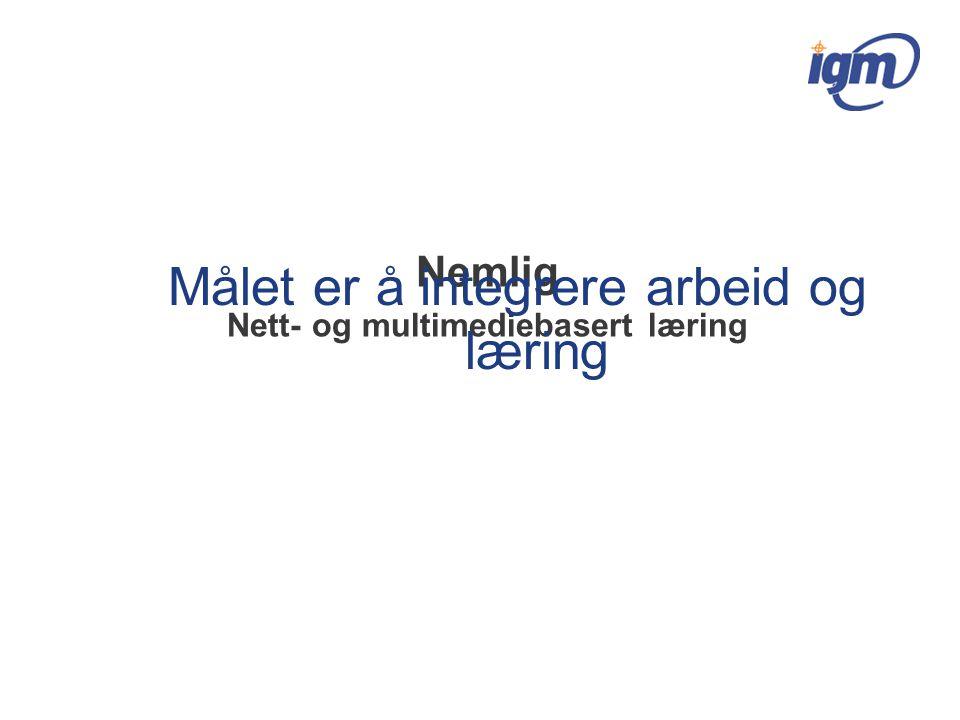 Nemlig Nett- og multimediebasert læring Målet er å integrere arbeid og læring
