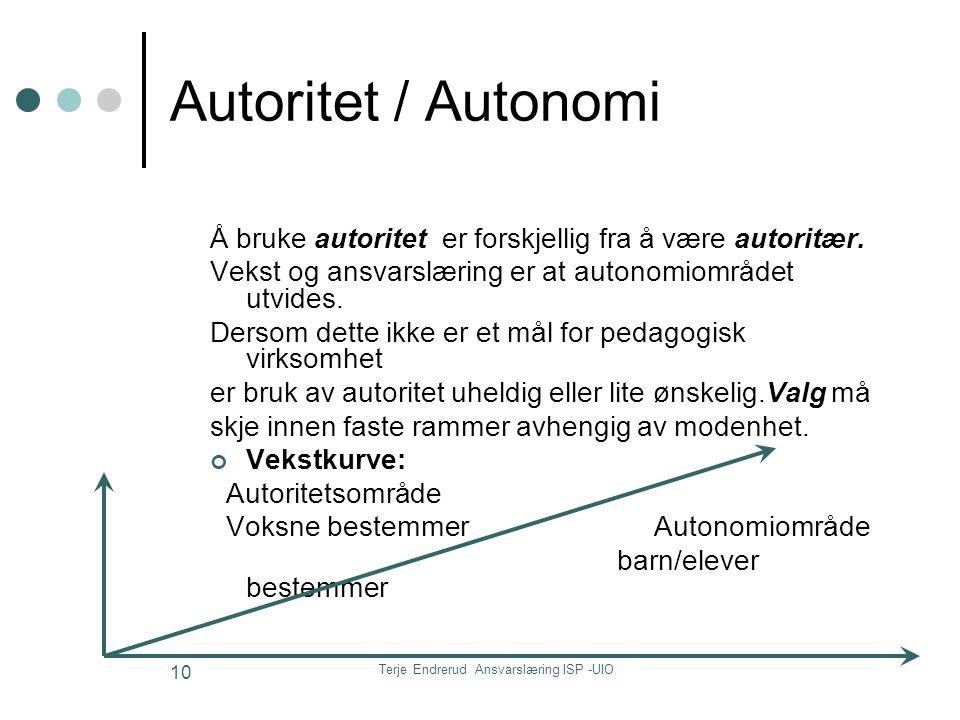 Terje Endrerud Ansvarslæring ISP -UIO 10 Autoritet / Autonomi Å bruke autoritet er forskjellig fra å være autoritær. Vekst og ansvarslæring er at auto
