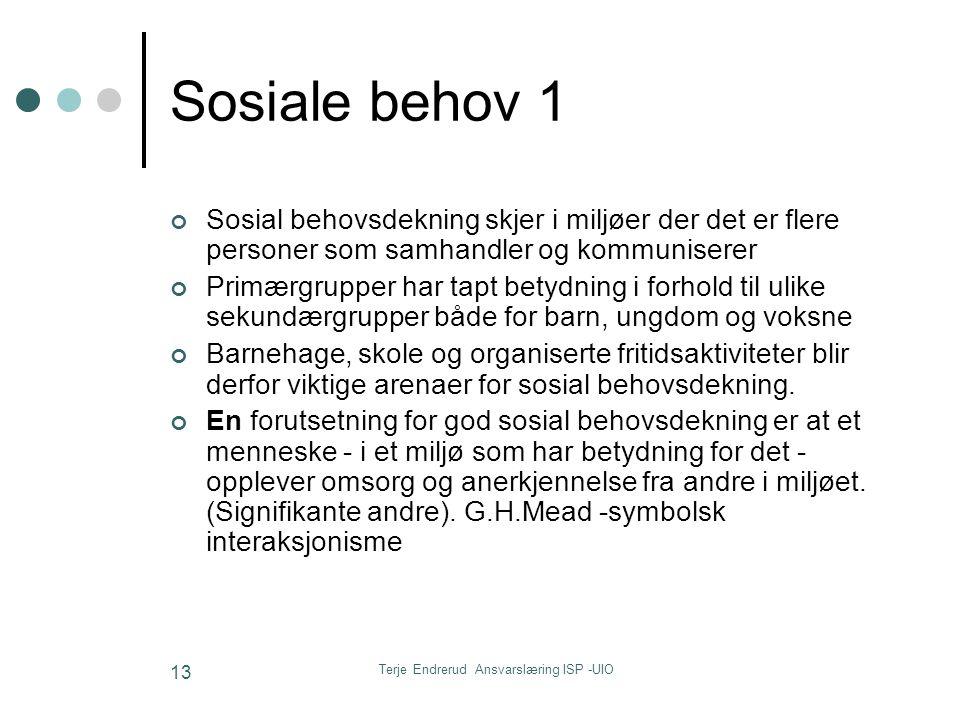 Terje Endrerud Ansvarslæring ISP -UIO 13 Sosiale behov 1 Sosial behovsdekning skjer i miljøer der det er flere personer som samhandler og kommuniserer