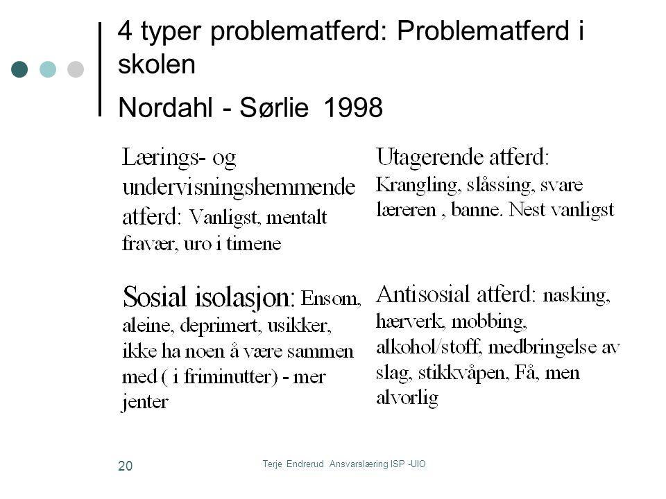 Terje Endrerud Ansvarslæring ISP -UIO 20 4 typer problematferd: Problematferd i skolen Nordahl - Sørlie 1998