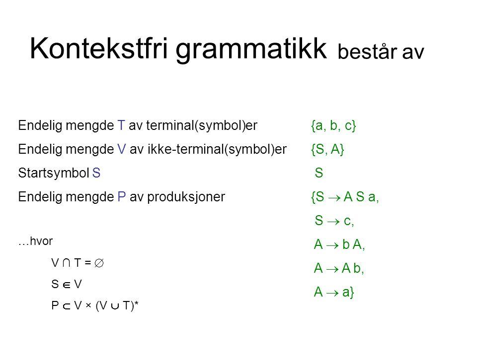 Kontekstfri grammatikk Endelig mengde T av terminal(symbol)er Endelig mengde V av ikke-terminal(symbol)er Startsymbol S Endelig mengde P av produksjoner …hvor V ∩ T =  S  V P  V × (V  T)* {a, b, c} {S, A} S {S  A S a, S  c, A  b A, A  A b, A  a} består av