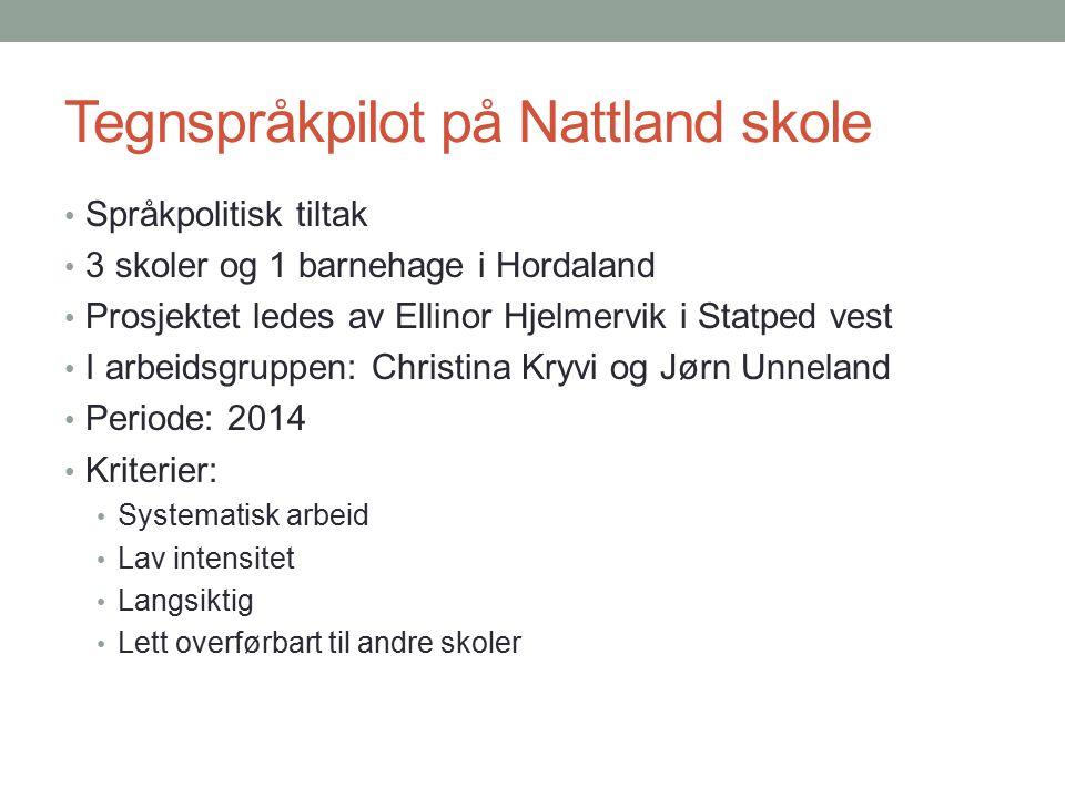Tegnspråkpilot i praksis Ukens tegn – voksne: fra september 2013, ledes av Christina Kryvi Enkle tegn Noe grammatikk Kommunikasjon Egen ressurs på It's Learning https://www.itslearning.com/ContentArea/ContentArea.aspx?LocationI D=109126&LocationType=1 https://www.itslearning.com/ContentArea/ContentArea.aspx?LocationI D=109126&LocationType=1 Månedens hendelse – på trinn, hovedtrinn eller hele skolen Ukens tegn – elever: fra august 204 Aldersadekvate tegn Tegntilfang pr klassetrinn Ukentlig innføring Daglig øving