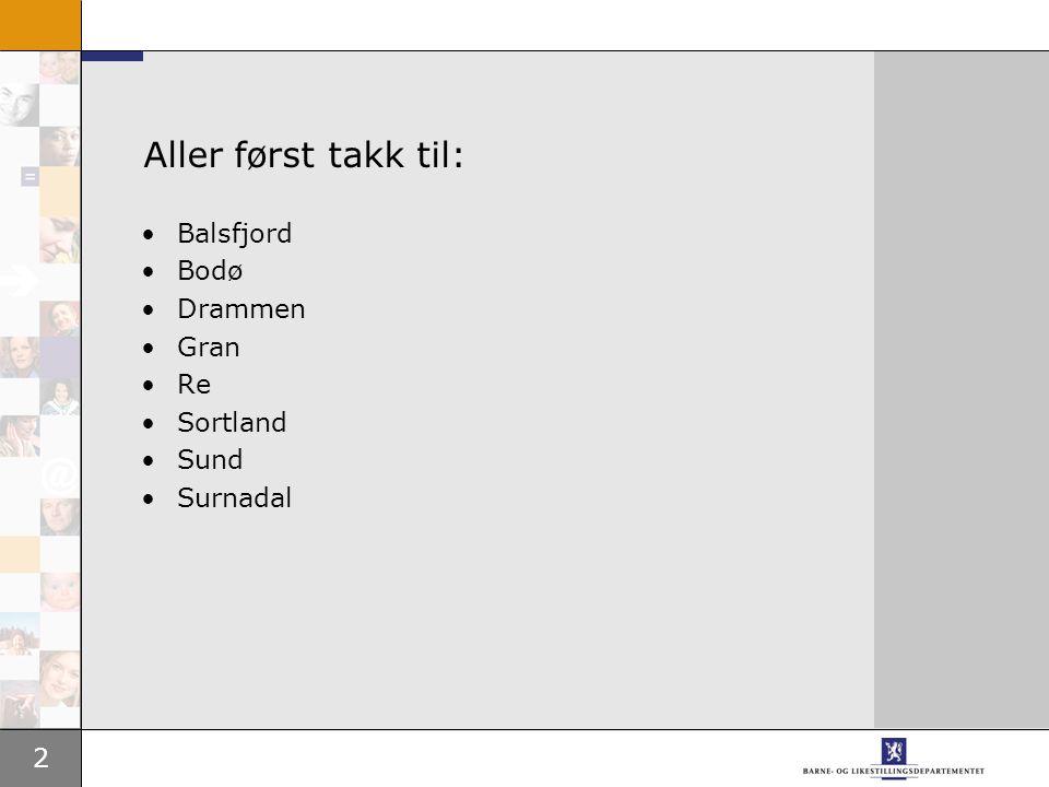 2 Aller først takk til: Balsfjord Bodø Drammen Gran Re Sortland Sund Surnadal