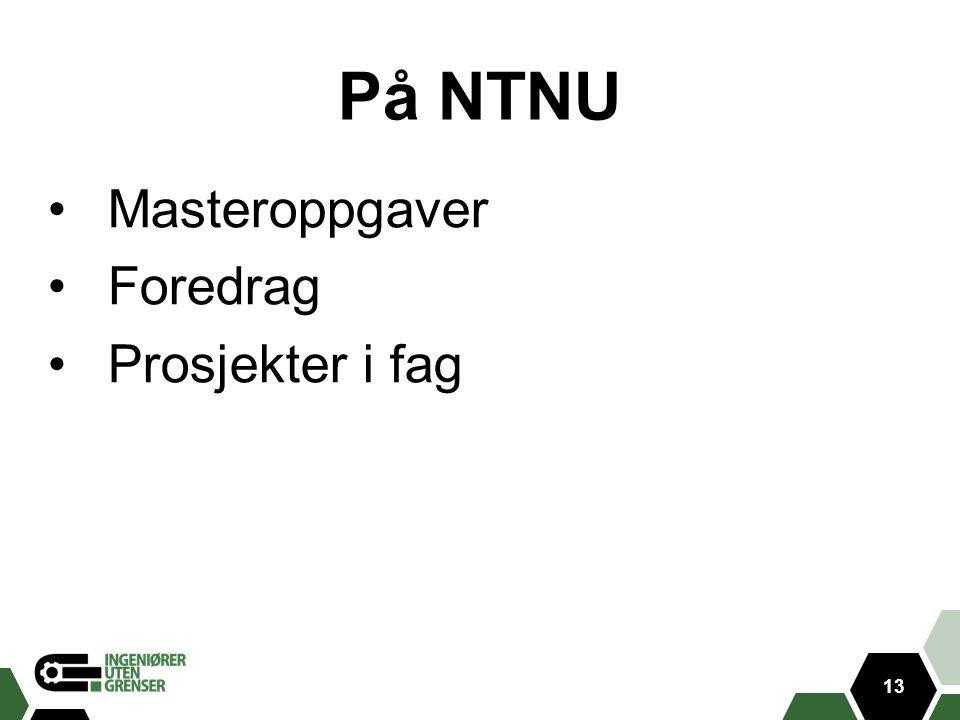På NTNU Masteroppgaver Foredrag Prosjekter i fag 13