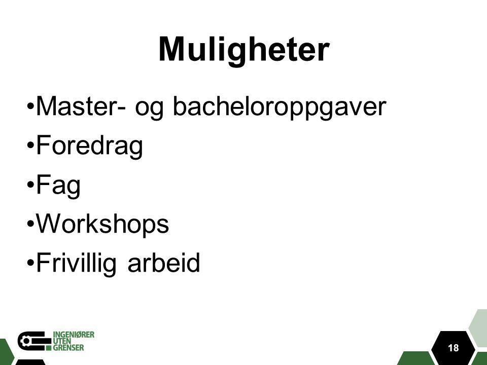 Muligheter Master- og bacheloroppgaver Foredrag Fag Workshops Frivillig arbeid 18