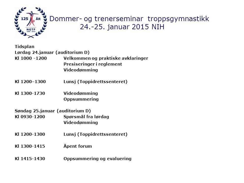 Dommer- og trenerseminar troppsgymnastikk 24.-25.